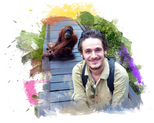Alex auf Besuch im Orang-Utan Rehabilitationszentrum